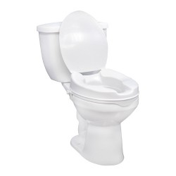 """Drive medical raised toilet seat with lock and lid, standard seat, 6"""" - 1 ea"""