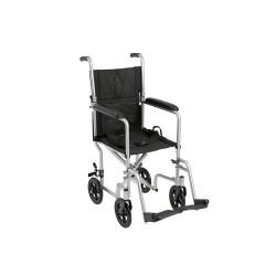 Drive Medical Lightweight Transport Wheelchair, 17 inches Seat, Silver - 1 ea