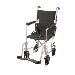 Drive Medical Lightweight Transport Wheelchair, 19 inches Seat, Silver - 1 ea