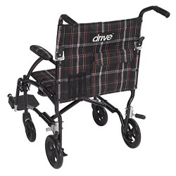 Drive Medical Fly Lite Ultra Lightweight Transport Wheelchair, Black - 1 ea