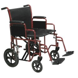 Drive Medical Bariatric Heavy Duty Transport Wheelchair with Swing Away Footrest, 20 inches Seat, Red - 1 ea