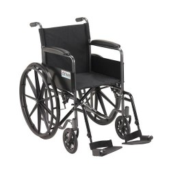 Drive Medical Silver Sport 1 Wheelchair with Full Arms and Swing away Removable Footrest - 1 ea