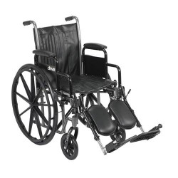 Drive Medical Silver Sport 2 Wheelchair, Detachable Desk Arms, Elevating Leg Rests, 18 inches Seat - 1 ea
