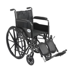 Drive Medical Silver Sport 2 Wheelchair, Non Removable Fixed Arms, Elevating Leg Rests, 18 inches Seat - 1 ea