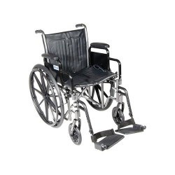 Drive Medical Silver Sport 2 Wheelchair, Detachable Desk Arms, Swing away Footrests, 20 inches Seat - 1 ea