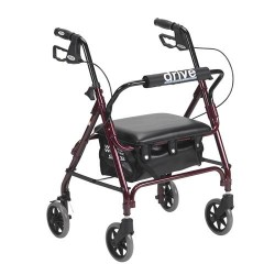 Drive Medical Junior Rollator with Padded Seat, Red - 1 ea