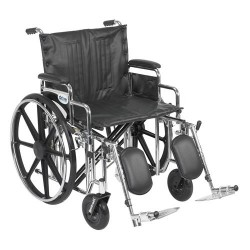 Drive Medical Sentra Extra Heavy Duty Wheelchair, Detachable Desk Arms, Elevating Leg Rests, 22 inches Seat - 1 ea