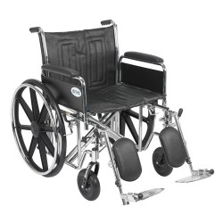 Drive Medical Sentra EC Heavy Duty Wheelchair, Detachable Full Arms, Elevating Leg Rests, 22 inches Seat - 1 ea