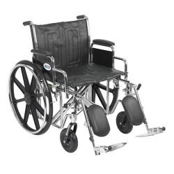 Drive Medical Sentra EC Heavy Duty Wheelchair, Detachable Desk Arms, Elevating Leg Rests, 22 inches Seat - 1 ea