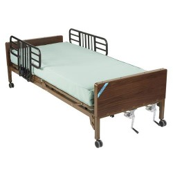 Drive Medical Multi Height Manual Hospital Bed with Half Rails and Innerspring Mattress - 1 ea