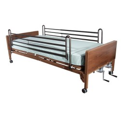 Drive Medical Multi Height Manual Hospital Bed with Full Rails and Foam Mattress - 1 ea