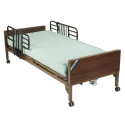 Drive Medical Delta Ultra Light Full Electric Bed with Half Rails and Therapeutic Support Mattress - 1 ea