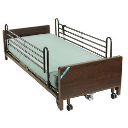 Drive Medical Delta Ultra Light Full Electric Low Bed with Full Rails and Foam Mattress - 1 ea