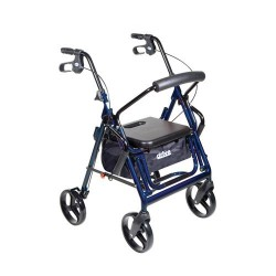 Drive Medical Duet Dual Function Transport Wheelchair Walker Rollator, Blue - 1 ea