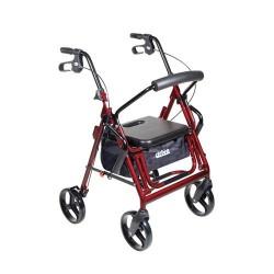 Drive Medical Duet Dual Function Transport Wheelchair Walker Rollator, Burgundy - 1 ea
