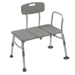 Drive Medical Plastic Tub Transfer Bench with Adjustable Backrest - 1 ea
