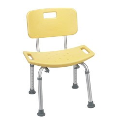 Drive Medical Bathroom Safety Shower Tub Bench Chair with Back, Yellow - 1 ea