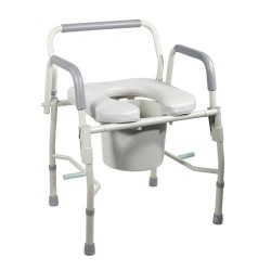 Drive Medical Steel Drop Arm Bedside Commode with Padded Seat and Arms - 1 ea