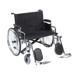 Drive Medical Sentra EC Heavy Duty Extra Wide Wheelchair, Detachable Desk Arms, Elevating Leg Rests, 28 inches Seat - 1 ea