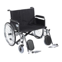 Drive Medical Sentra EC Heavy Duty Extra Wide Wheelchair, Detachable Full Arms, Elevating Leg Rests, 28 inches Seat - 1 ea
