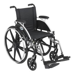 Drive Medical Viper Wheelchair with Flip Back Removable Arms, Desk Arms, Swing away Footrests, 12 inches Seat - 1 ea