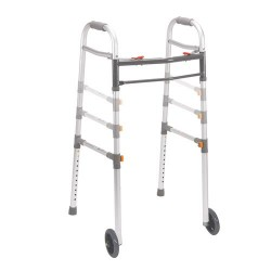 Drive Medical Two Button Folding Universal Walker with 5 inches Wheels - 1 ea