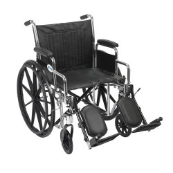Drive Medical Chrome Sport Wheelchair, Detachable Desk Arms, Elevating Leg Rests, 20 inches Seat - 1 ea