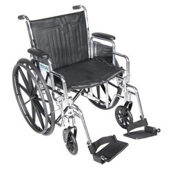Drive Medical Chrome Sport Wheelchair, Detachable Desk Arms, Swing away Footrests, 20 inches Seat - 1 ea