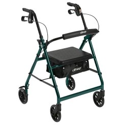 Drive Medical Walker Rollator with 6 inches Wheels, Fold Up Removable Back Support and Padded Seat, Green - 1 ea
