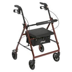 Drive Medical Walker Rollator with 6 inches Wheels, Fold Up Removable Back Support and Padded Seat, Red - 1 ea