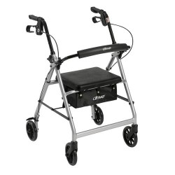 Drive Medical Walker Rollator with 6 inches Wheels, Fold Up Removable Back Support and Padded Seat, Silver - 1 ea