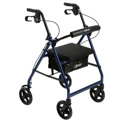 Drive Medical Aluminum Rollator with Fold Up and Removable Back Support and Padded Seat, Blue - 1 ea
