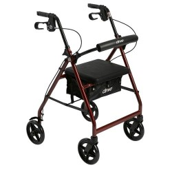 Drive Medical Aluminum Rollator with Fold Up and Removable Back Support and Padded Seat, Red - 1 ea