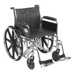 Drive Medical Sentra EC Heavy Duty Wheelchair, Detachable Full Arms, Swing away Footrests, 20 inches Seat - 1 ea