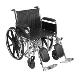 Drive Medical Sentra EC Heavy Duty Wheelchair, Detachable Full Arms, Elevating Leg Rests, 20 inches Seat - 1 ea