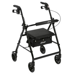 Drive Medical Walker Rollator with 6 inches Wheels, Fold Up Removable Back Support and Padded Seat, Black - 1 ea