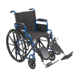 Drive Medical Blue Streak Wheelchair with Flip Back Desk Arms, Elevating Leg Rests, 18 inches Seat - 1 ea