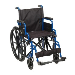 Drive Medical Blue Streak Wheelchair with Flip Back Desk Arms, Swing Away Footrests, 18 inches Seat - 1 ea