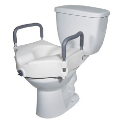 Drive Medical Elevated Raised Toilet Seat with Removable Padded Arms - 1 ea