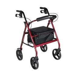 Drive Medical Aluminum Rollator with Removable Wheels, Red - 1 ea