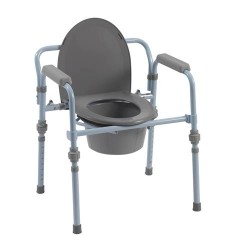 Drive Medical Folding Bedside Commode with Bucket and Splash Guard - 1 ea