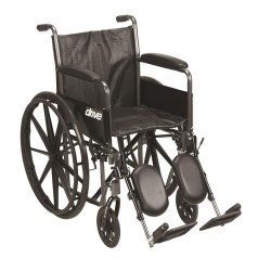Drive Medical Silver Sport 2 Wheelchair, Detachable Full Arms, Elevating Leg Rests, 20 inches Seat - 1 ea