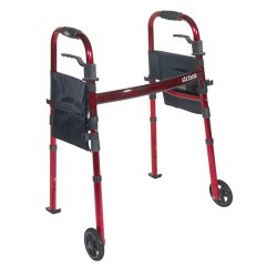 Drive Medical Portable Folding Travel Walker with 5 inches Wheels and Fold up Legs - 1 ea
