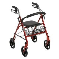 Drive Medical Four Wheel Walker Rollator with Fold Up Removable Back Support, Red - 1 ea