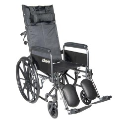 Drive Medical Silver Sport Reclining Wheelchair with Elevating Leg Rests, Detachable Full Arms, 16 inches Seat - 1 ea