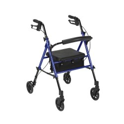 Drive Medical Adjustable Height Rollator with 6 inches Wheels, Blue - 1 ea