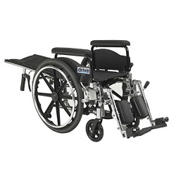 Drive Medical Viper Plus GT Full Reclining Wheelchair, Detachable Full Arms, 18 inches Seat - 1 ea