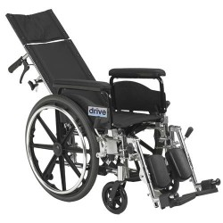 Drive Medical Viper Plus GT Full Reclining Wheelchair, Detachable Full Arms, 20 inches Seat - 1 ea