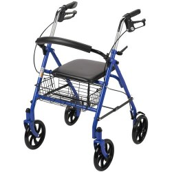 Drive Medical Four Wheel Walker Rollator with Fold Up Removable Back Support, Blue - 1 ea