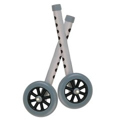 "Drive Medical Walker Wheels with Two Sets of Rear Glides, for Use with Universal Walker, 5"", Gray, 1 Pair - 1 ea"